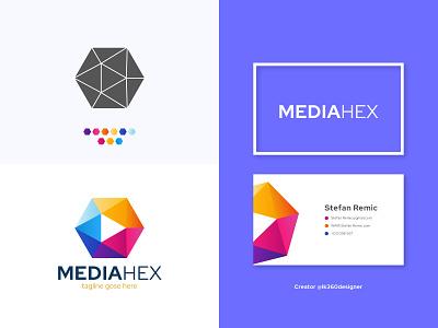 Mediahex logo design || Minimalist Play button logo business logo creative medial logo colorful logo gradient logo minimalist logo play button logo play logo hexagon logo mediahex logo media logo