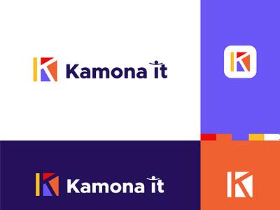 Kamona IT Tech logo design. Minimalist Tech company logo design business brand branding vector graphic design business logo corporate company it company multicolor app minimal creative electronics it brand technology business tech logo