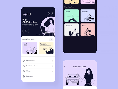 Insurance App | Box Solution insurtech mobile motion graphics insurance ui figma ux simbirsoft service interface app animation