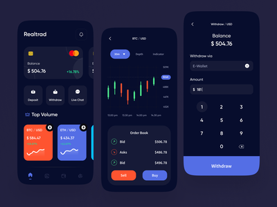 Trading Cryptocurrency Mobile App Exploration dark theme dark mode graphic statistics bitcoin candlestick trade charts keyboard trading cryptocurrency ux ui apps card mobile app design mobile design mobile app mobile ui mobile