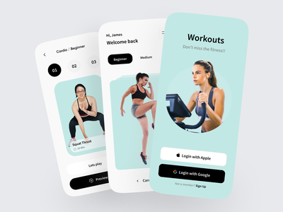 Workout Apps Exploration 👟 sport app sport play workout app button yoga fitness login ux ui card apps splash screen mobile app design mobile design mobile ui mobile app mobile workout