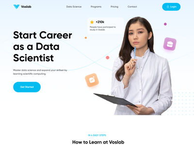 Voslab - Landing Page Exploration ✨ deep learning programming homepage ux simple clean concept feature landingpage landing page ui career online course data science course website design webdesign web design web website
