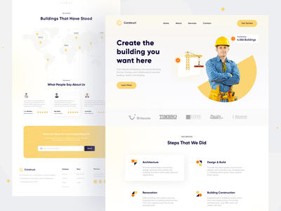 Construct Landing Page  👷 work web design architecture building maps landing homepage design interaction motion design clean web animation animation design web construction ux ui website landing page animation