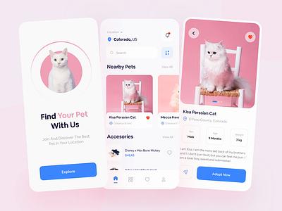 Adopt Mobile App 🐱 button minimal clean pet shop card cats animals adopt pets interaction principle prototype mobile ui animation app mobile design mobile app ux ui mobile