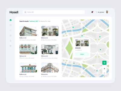 Hosell - Real Estate Broker Dashboard Exploration 🏘 interactions sale website search maps apps mobile app card real estate house home broker interaction design clean ux ui mobile web design animation