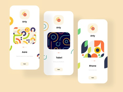 Arty - Onboarding Screens uidesigner designer designers ui  ux onboarding onboarding screens onboarding ui user experience uiux ui design user interface dribbble dailyui uxresearch user interface design userinterface uiuxdesigner uidesign graphicdesign design