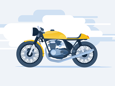 Cafe Racer in the clouds complementary illustration racer cafe motorcycle
