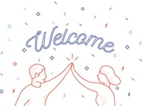 Welcome Free Trial Members illustration monoline high five high-five welcome