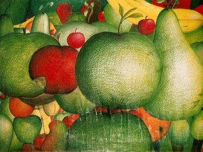 Pencil Color Fruits illustration