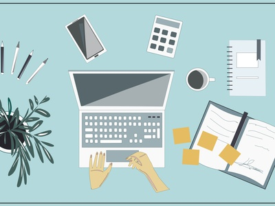 Desktop. Laptop, phone, flower, coffee mug, notepads headphones flat document digital device desktop desk designer design cup creative concept computer communication collection coffee camera calculator business background