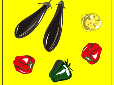 Eggplant. Red, green, yellow peppers. Vegan. vegetables healthy food healthy peppers eggplant vegan logo vegan food veganism