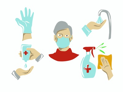Masks, gloves, antiseptics, soap. Hygiene.Vector isolated images illustration hygienic hygiene health flu fever face mask face doodle disease covid-19 coronavirus corona virus corona collection avoid cartoon people icon 2019-ncov