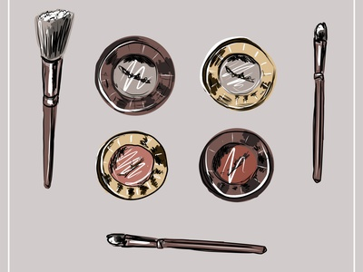 Cosmetic brushes, ball blush, eye shadow, powder, concealer, lip eyebrow drawn drawing doodle design decorative cream cosmetic comb color collection care brush bottle beauty beautiful background art accessories cosmetics