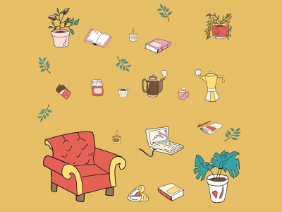 Flower in a pot, books, laptop, chair, kettle, coffee pot, m indoor happy icon home flower in a pot flat design decoration cup cozy concept coffee pot coffee chair cartoon card candle books blanket autumn