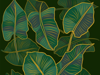 Floral pattern, Golden split-leaf Philodendron plant jungle illustration green graphic garden foliage floral fashion exotic element drawing design decorative decoration color botanical beautiful background art abstract