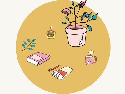 Flowers in pots. Plants in the house. Notebook, book and tea mug floral flora flat elegant detail desk design decorative decoration decor copy color book beautiful background art accommodation accessory cartoon vector