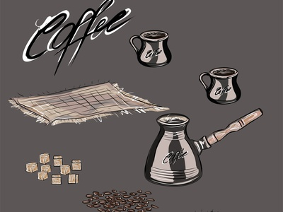 Set for coffee drinking. cup crop coffee pot coffee beans coffee bean closeup caffeine brown breakfast black beverage bean bamboo cloth background aromatic aroma arabic cafe coffee vector