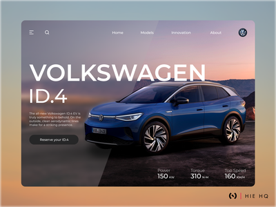 Volkswagen ID.4 Electric Car Landing Page color minimal electric cars car web design electric car volkswagen uiux ux design ui design landing page glassmorphism figma typography dribbble best shot dribbble branding design ux ui