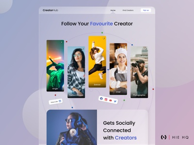 CreatorHub Landing page community colors glassmorphism minimal instagram facebook social media design uiux uidesign ux design ux ui social social media branding behance figma typography dribbble best shot dribbble