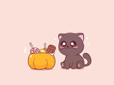 Black Cat funny branding design pet kawaii black cat animal characterdesign design sweet cartoon vector character illustration adorable cat