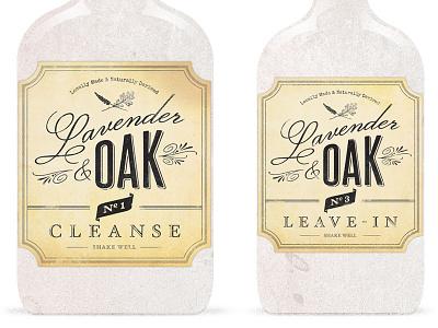 Lavender & Oak Logo Final Bottles logo vintage apothecary script fonts