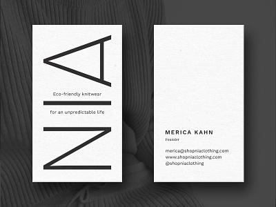 NIA Business Card black and white simple business card modern fashion branding logo