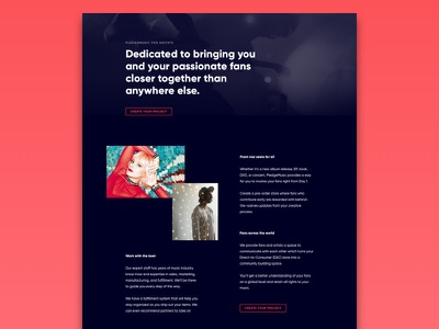 PledgeMusic For Artists 3 contrast layout band dark black red for artists music pledgemusic