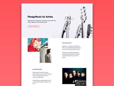 PledgeMusic For Artists 2 contrast layout band dark black red for artists music pledgemusic