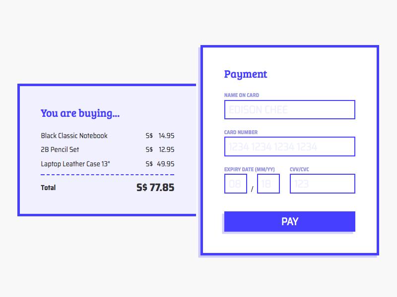 Checkout form form payment checkout line css 002 dailyui