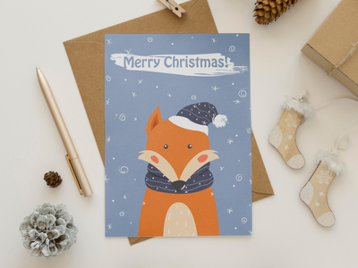 "Christmas card in a minimalistic style "" Fox"" postcards card fox winter new year vector illustration"