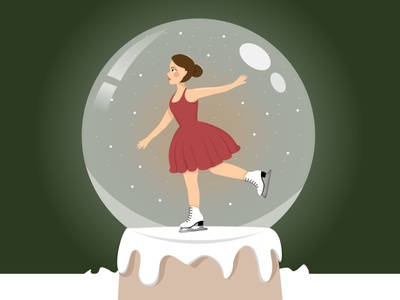 New Year's Card winter snow globe skates girl new year illustration vector illustration