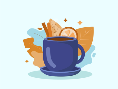 Illustration of a coffee mug on an autumn theme кружка кофейная кружка кофе осень illustration vector illustration