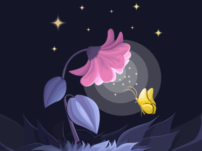"Illustration of ""the Magic flower"" night light dark colors illustration vector illustration"