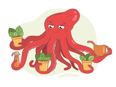 Octopus gardener растения octopus illustration vector illustration