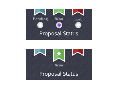 Proposal Status ribbon flag indicator won status proposal