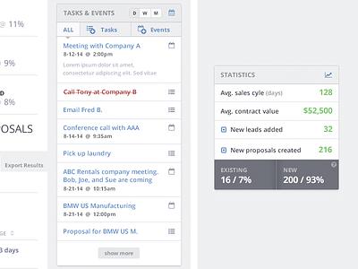 Sidebar Modules statistics calendar dashboard modules sidebar