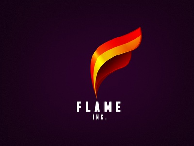 Flame Inc. Logo logo flame fire glossy gradient red orange type