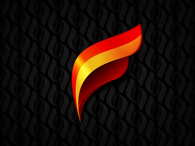 Flame F & pattern custom type f flame fire red orange logo icon glossy pattern seamless