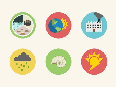 Icons pt.2 icons circles flat vector sun lightbulb pastel energy