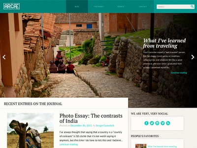 The Arcae Project's revamp website blog responsive flat photo travel light rwd