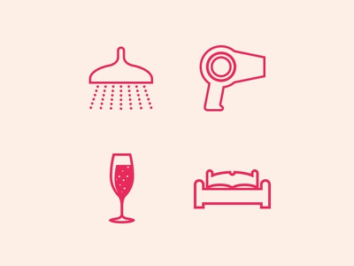 L'Oreal icons icons vector outline pink champagne blow dryer bed shower