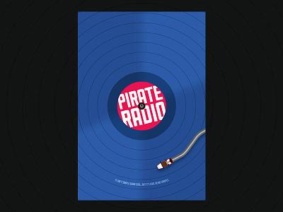 Pirate Radio poster pirate radio movie poster minimalist blue red vinyl ship