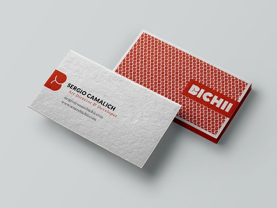 Bichii Business Cards texture mock up pattern red naked cards business