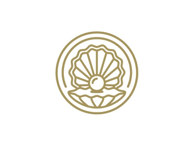 Oyster Logo shell golden flat icon seal pearl logo oyster
