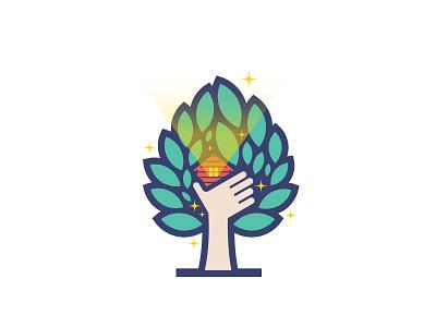 Magic Treehouse logo flat leaves leaf hand stars light magic house tree treehouse