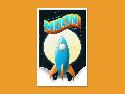 Greeting from the Moon postcard stars spaceship clouds space illustration lettering poster crypto stellar rocket moon