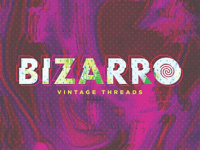 Bizarro Vintage Threads clothing glitch type pattern marbled branding texture vintage logo bizarro