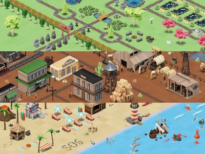 Isometric Worlds beach wild west garden isometric design illustration design ui