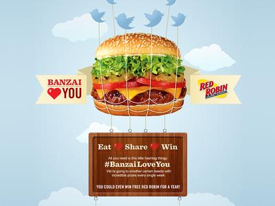 Banzai Love You burger food twitter contest site ui website digital interactive banzai