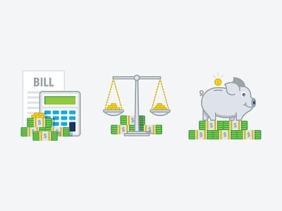 Financial Icons design calculator invest balance piggy bank money icons illustration finance